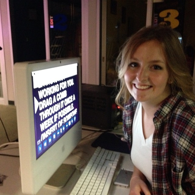 Lexi Bryan from the class of 2013 drops by so that means she runs the prompter.