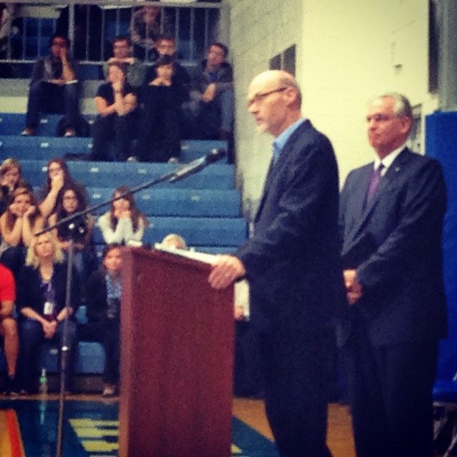 Board member Andy Hosmer introduces Gov. Jay Nixon to the Hillcrest student body.