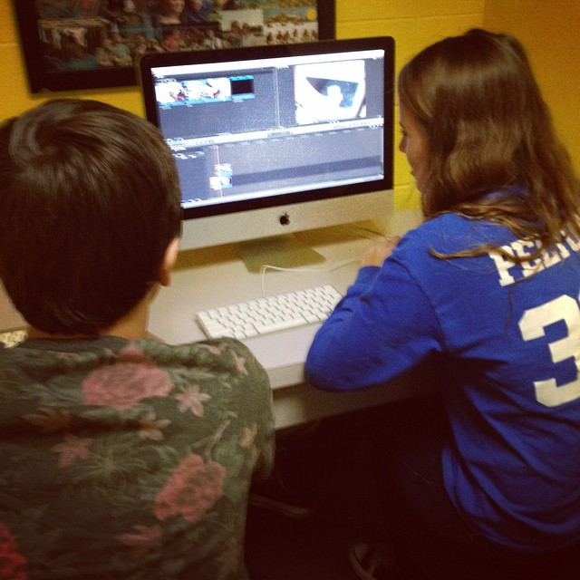 Wyatt and Denise learning the ins and outs if Final Cut Pro.