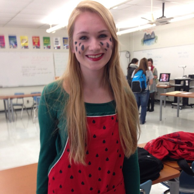 Emily Harmon is decked out for the Halloween shoot for The Buzz.