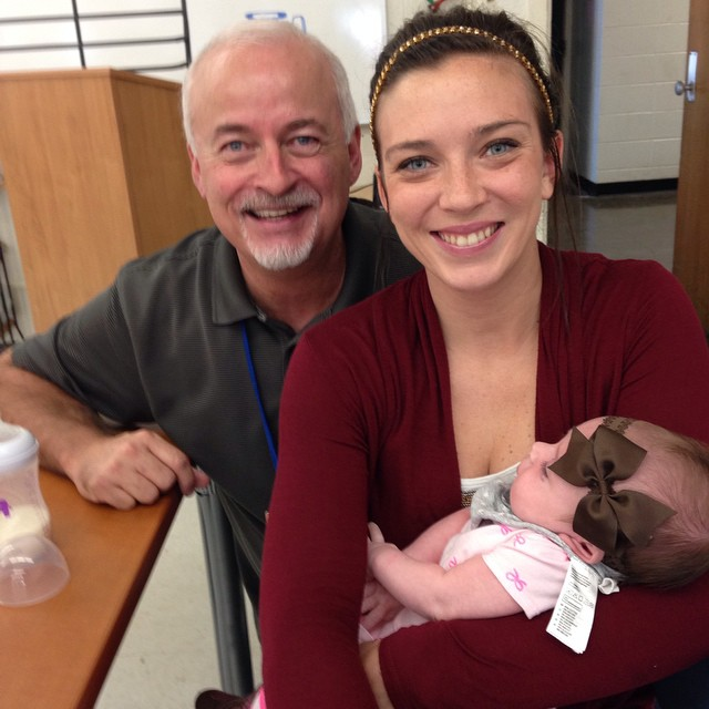 Former HTVer Nicole Varella and daughter Larkin dropped by Friday.