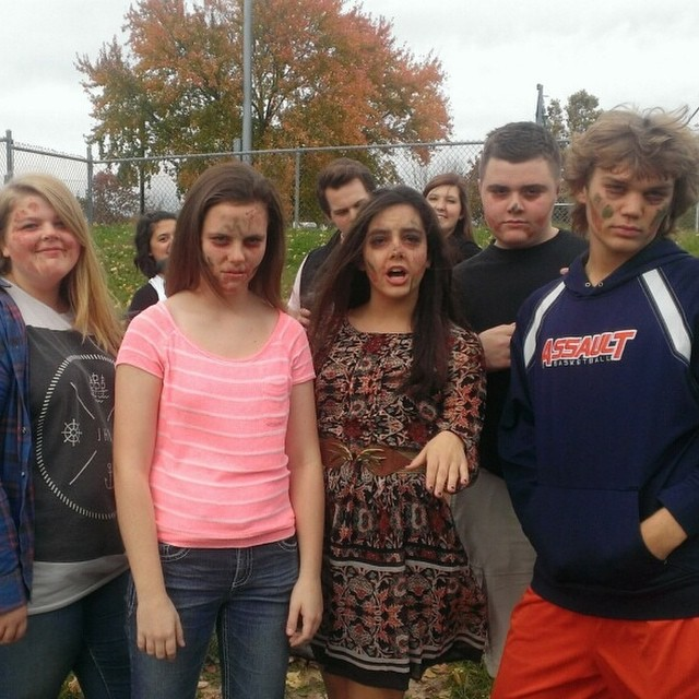 Media I students get zombied up for the upcoming Halloween version of