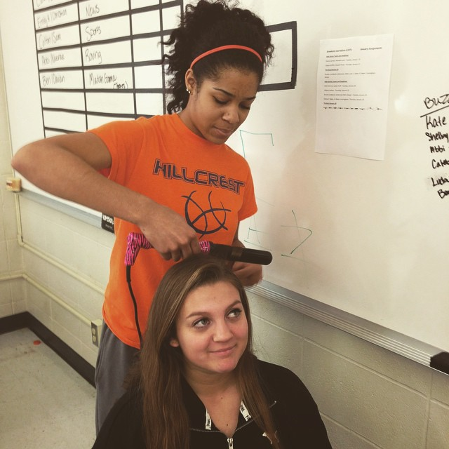 Laurnea preps Shelby for her appearance on KOLR to promote the Buzz-A-Thon. #glamsquad