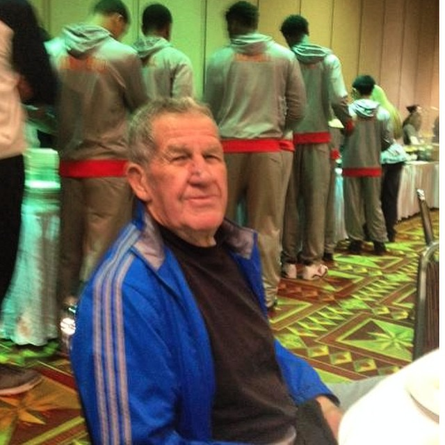 Future legends in the background, current legend in front. Coach Jim Vaughan at the Tournament of Champions.