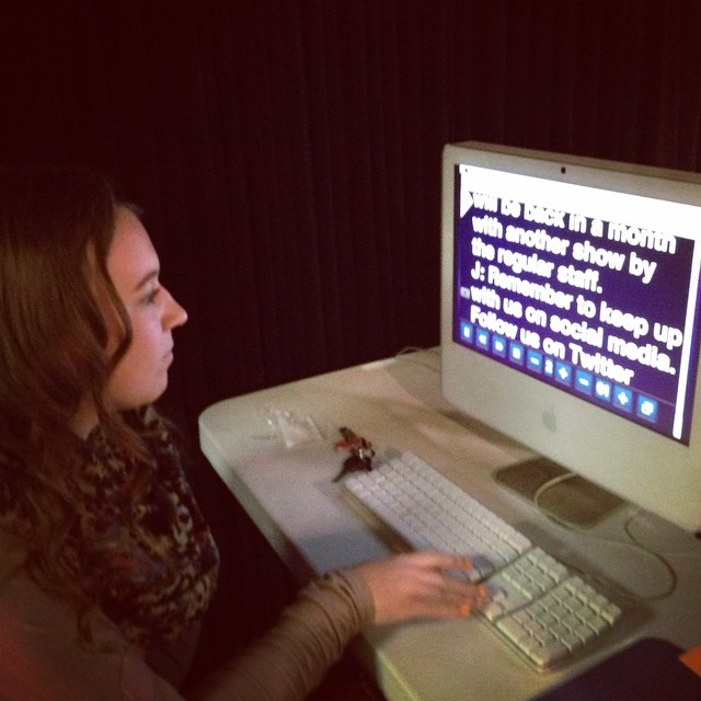 Sarena Mott runs the prompter for HTV anchors during 8th block. The show goes online Friday.