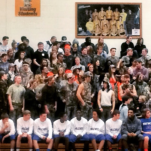Hornet fans bring the camo garb to the KHS game.