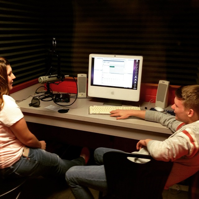 Voice overs in the audio booth with Darian and Ben.