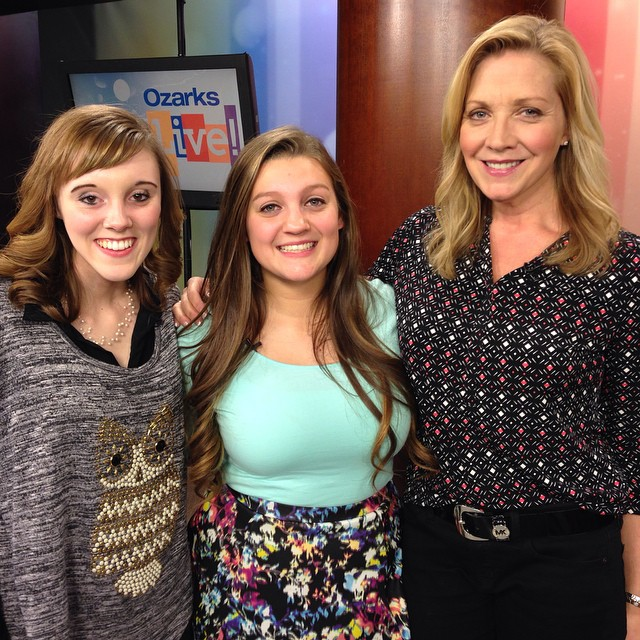 Katelyn, Shelby, and KOLR's Joy Robertson after a successful appearance on