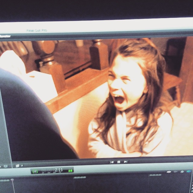 It is a horror movie trailer in production. Chloe Cochran lets out a scream to help her sister's team.