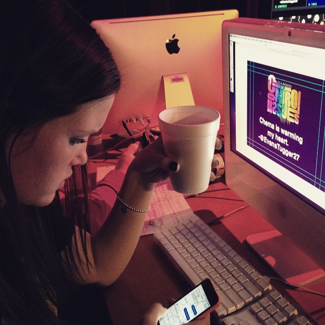 Mackenzie Hallam checks for tweets as she runs live graphics at the Buzz-A-Thon.