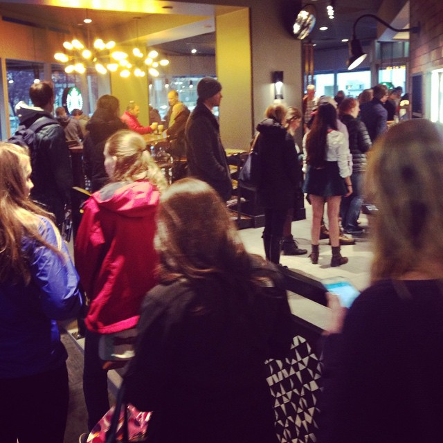 The line is 30 deep at Starbucks as everyone gears up for #nhsjc in Denver.